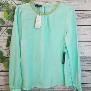 NWT BCBG mint green long sleeve gold neckline sz M